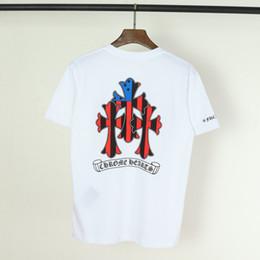 Stil kreuz shirt online-Neue Mode Crowe Kreuz Anker T-Shirt gedruckt kurzes T-Shirt Paare Liebhaber aus reiner Baumwolle Kurzarm Männer Frauen Hip Hop Street Style Shirt