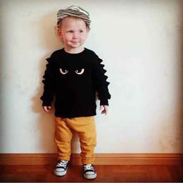 Fatos de treino do bebé cute on-line-Retail Bebé de treino toddle infantil bonito 2pcs monstro set esporte terno (tshirt + calça) Conjuntos treino bebê sportwear crianças roupas de grife