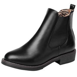 Mode Retro frauen Niedrigen Absätzen Tiefem Mund Rutschfeste Schuhe Runde Kappe Kurze Stiefel leder stiefel frauen zapatos de mujer # g8 von Fabrikanten