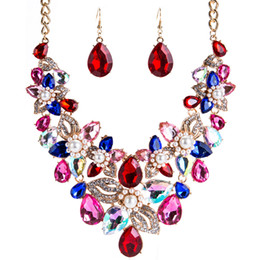 conjuntos de colar azul pérola Desconto New Design Necklace Earrings Sets for Girls Lady Exaggerated Flower Imitation Pearl Water Drop Gold Fashion Women Wedding Jewelry Suit Blue
