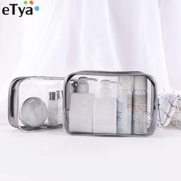 2019 sacchetti di stoccaggio chiari eTya PVC Clear Travel Make Up Bag Box Cerniera Borsa grande da donna per cosmetici Borsa da bagno per toilette sacchetti di stoccaggio chiari economici
