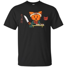 mens knifes Promo Codes - Black Shirt Mens Cat Japanese Sushi Master Knife Platte Black T-shirt Gift Short Sleeve Plus Size t-shirt
