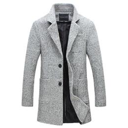grau wollmantel männer Rabatt 2019 Herbst und Winter New Fashion Boutique Solid Color Beiläufiges Geschäfts Männer lange Wollmäntel / Herren graue lange Wolljacken