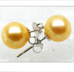 Perle del sud del mare dorato online-A PAIR 9mm Round Golden Yellow South Sea Sea Pearls Earring 14k Tappetino bianco solido
