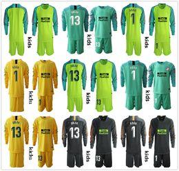 Camiseta de portero juvenil online-Manga larga 2019 2020 Kid Youth Adan Oblak Goalkeeper Jersey Conjuntos de fútbol para niños # 13 Jan Oblak # 1 Adan Kid Boy Goalkeeper Uniforme para niños