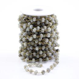 Labradorit perlenkette online-5x8mm, facettierte natürliche Flash Labradorit Rondelle Perlen Halskette, Draht gewickelt Messing Links Halskette Armbänder