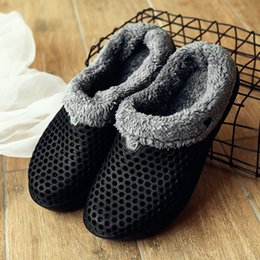 гнездовая обувь Скидка Winter Slippers Men Plush Warm Shoes Men Slippers Light Comfortable Nest Indoor Fur Home Unisex Couple Female