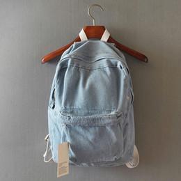 mochila menina azul claro Desconto Escola japonesa de vento denim mochila sólidos saco de viagem ocasional casal bolsa de ombro sacos de escola para meninas azul profundo e azul claro # 235812