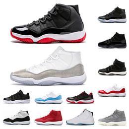 Alte scarpe da tennis online-nike air jordan 11 Top 11s qualità 2019 Scarpe da basket Bred traspirante scarpe cappello e abito Concord alte 45 sport delle scarpe da tennis dimensioni Esecuzione 7-13