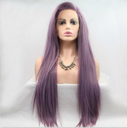 длинный светло-фиолетовый парик Скидка Длинный фиолетовый парик косплей манга Джин Тама-Сарутоби Аяме прямой чистый цвет синтетический термостойкий светло-фиолетовый кружева перед синтетические парики