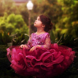 little girls wearing pink dress Promo Codes - 2020 New Lace Tulle Cupcake Flower Girls Dresses with Long Sleeve High Neck Crystal Sash Little Birthday Party Gown Lace Top Formal Wear