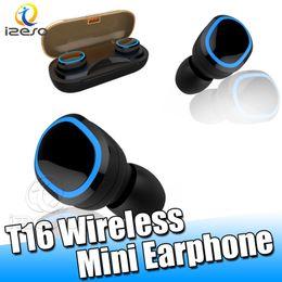 universal-blade-gehäuse Rabatt TWS T16 Bluetooth 5.0 Drahtloses Headset Touch Control Kopfhörer IPX 7 Wasserdichte Ohrhörer Auto Paring Ohrhörer mit Ladekoffer izeso