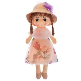 Wholesale 1 unids cm muñecas de peluche acompañan juguetes de muñecas lindo Ragdoll de dibujos animados vestido de flores de peluche muñecas de trapo de peluche juguetes para niños regalos