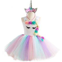 Mädchen Kleid Einhorn Party Mädchen Kleid Fantasia Infantil Kinder Kostüm Band Brautkleider Für Kleinkind Tutu Prinzessin Kleider Y19061501 von Fabrikanten