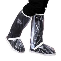 Botas de chuva mulheres brancas on-line-Tampa da sapata para as botas de chuva das mulheres dos homens impermeáveis com zíper engrossado / branco elástico da atadura