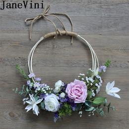 Canasta de flores de novia online-JaneVini Blanco Púrpura Rosas novia corona de flores artificiales flores de la lavanda de boda Ramos de novia Accesorios Mano Lei Garland Basket 2019
