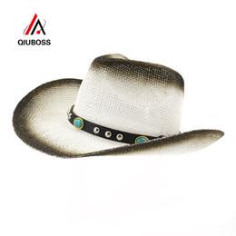 2020 sombrero de vaquero de paja de papel QIUBOSS Negro Pintura en Aerosol Paja de Jazz Jazz Sombreros de Vaquero Mujeres de Verano Sombrero de Sombrero de Sombrero de Sombrero de Playa Al Aire Libre Grandes Señoras Panamá sombrero de vaquero de paja de papel baratos