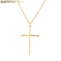 pendant design gold small Coupons - Simple Design Cross Pendant Necklace Polishing Small Tiny Necklaces For Women Religious Jewelry Gifts