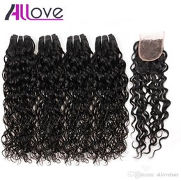 Melhor cabelo ondulado molhado on-line-Best 10A Brazilian Hair Human hair Bundles With Closure Water Wave 4Bundles With Closure Wet and Wavy Human Hair Extensions Wholesale
