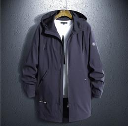 Giacca da uomo lunga Giacca a vento con cappuccio autunno Bomber grasso allentato Streetwear Cappotto traspirante allentato Capispalla Plus Size 8XL da