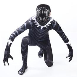 Wholesale Black Panther Muskel Kostüm Bürgerkrieg amerikanischer Kapitän Cosplay Superheld Halloween Partei Abendkleid Overall Boy