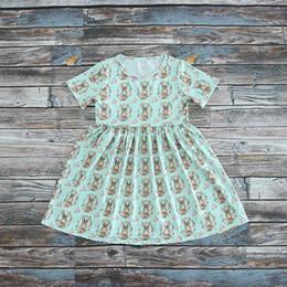 i vestiti di pasqua all'ingrosso delle ragazze Sconti Commercio all'ingrosso 2019 Nuovo stile Easter Dress for Girls Rabbit Flower Stampa manica corta Dress Bambini Abbigliamento 2-8T E1901