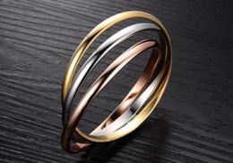 vente en gros d'acier à vendre Promotion 2019 Vente Chaude 3 Couleur Pulseiras Or Couleur Titane Acier Bracelets Bracelets Pour Femmes Pulseras Nail Bracelet En Gros