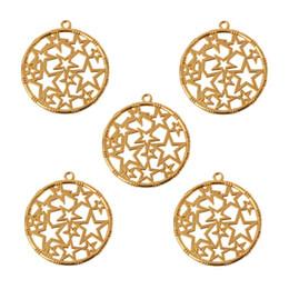 Faixas de jóias de resina on-line-5 Pcs Rodada Estrela Em Branco Moldura Pingente de Moldura Aberta Definir UV Jóias Resina Fazendo