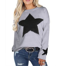 Canada Pull Femmes Pulls Avec Étoiles 2019 Casual Pull En Tricot Dames Acrylique Cavaliers Blanc Noir Gris Drop Shipping cheap black acrylic sweater Offre