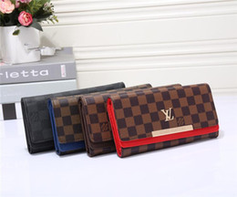 ladies wallets buckle Promo Codes - wholesale 2018 Fashionable Men And Women PU Color Buckle OL Business Letter Wallet Wallet Long Section Designer Brand Wallet Free Delivery