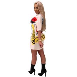 2019 mini vestidos curtos curtos 2019 Retro Designer de Graffiti Impressão T-shirt Vestido de Verão Das Mulheres Vestidos de Manga Curta Solta Reta Longa Tee Vestidos de Hip Hop Mini Saia A52207