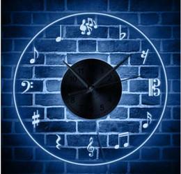 дизайн музыкального искусства Скидка Музыкальные ноты Wall Art светодиодное освещение декор стен современный дизайн настенные часы со светодиодной подсветкой скрипичный ключ освещенный знак Меломан