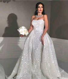 reluzente strapless vestidos Desconto 2020 Glitter estilo sereia vestidos de noiva árabe com trem destacável strapless lantejoulas brilhantes Plus Size Overskirt Vestido nupcial