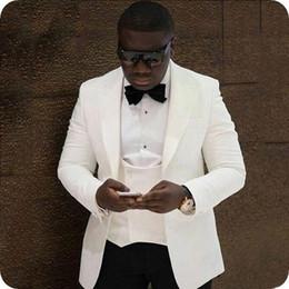 Personnalisé Blanc Costumes De Mariage Des Hommes Slim Fit Marié Tuxedos Ivoire À Pointe De Revers Bel Homme Meilleur Blazers Veste 3 Pièce Double Gilet Poitrine ? partir de fabricateur
