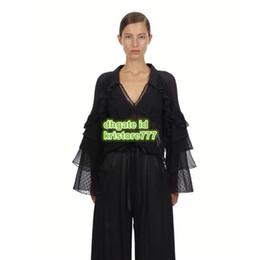 Рубашка с длинным рукавом онлайн-Женская блузка с расклешенными рукавами и V-образным вырезом с воротником в горошек High-End Custom Black