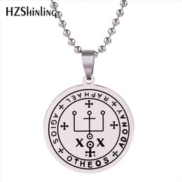 archangel pendants Promo Codes - 2019 New Stainless Steel Necklace Archangel Raphael Seal Pendant It is God Who Heals Jewelry Trendy Men's Jewelry Silver HZ7