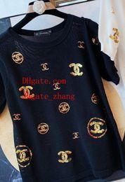 bestickte t shirt frau Rabatt 2019 mode frauen marke t-shirt bestickt druck perspektive stricken t-shirt casual t-shirts femme hochwertige sommer frauen kleidung bc-4