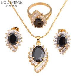 Conjunto de jóias de ouro delicado on-line-brinco colar de Delicate Black Crystal Inlay Cool Fashion Jóias Definir tom de ouro Colar Anel sz # 6 # 7 # 8 # 9 # 10 para as mulheres JS569