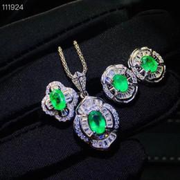 2019 smaragd halskette ohrring ring-sets KJJEAXCMY exquisite schmuck 925 sterling silber eingelegte natürliche smaragd dame Anhänger Halskette Ring Ohrring Set unterstützung detecti rabatt smaragd halskette ohrring ring-sets