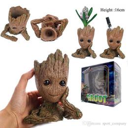 guardiões de groot Desconto Guardiões da Galáxia 2 Figura Groot Criança Brinquedo Do Presente Do Vaso de Flores 16 cm Do Bebê estatueta árvore vaso de flores Decoração