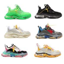 Scarpa al neon online-Triple S Sneaker neon Green Uomo Scarpe firmate Donna Scarpa bassa allacciata con plateau Scarpa casual in pelle di lusso con mesh trasparente