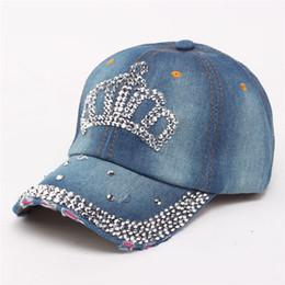 2019 bonés de denim diamantes Moda coroa de diamantes bordados Chapéus para mulheres Denim Snapback Caps boné de beisebol das mulheres Chapéu feminino Cap Feminino ajustável desconto bonés de denim diamantes