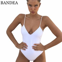 2ea1642ebb784 2019 BANDEA Sexy One Piece Swimwear Women Backless Swimsuit Solid High Cut  Monokini Thong Bathing Suit Maillot De Bain