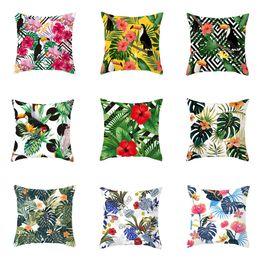 almofadas tropicais Desconto Plantas YWZN Verão tropicais Impressão Almofada capa de poliéster folhas verdes Throw Pillow Caso Tropical Plants capa de almofada