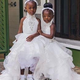 2019 vestito da cerimonia nuziale chiffon del branello di halter 2019 bianco pizzo ragazze fiore abiti per le perline di cristallo perline ragazze prima comunione vestito occasione speciale vestito da cerimonia nuziale chiffon del branello di halter economici