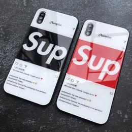 manijas de los casos de iphone Rebajas Para Iphone Xr Xs Caja del teléfono Max Tide Brand Sup Luxury 6 7 8 X Plus Caja de teléfono celular de borde suave de vidrio templado