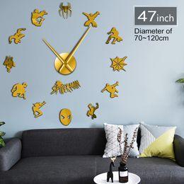 большие желтые часы Скидка Spider Superhero Гигантские Настенные Часы Spidey Wall Art Home Decor Детская Комната DIY Стикер Комикс Большие Часы