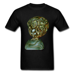 T-shirt di design d'arte online-2018 Crazy Art Design Abbigliamento uomo T-shirt nera Stranger Things T Shirt Faces Printed Tshirt 3D Top Pantaloni a vita bassa Tees Rock N Roll
