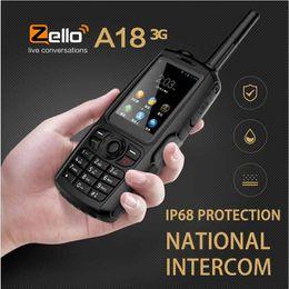 tarjeta de doble pantalla Rebajas A18 IP68 GPS impermeable WCDMA GSM Smartphone Tarjeta dual Zello Celular UHF 400-480 PTT Teléfono Walkie Talkie Pantalla táctil 3800mAh