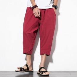 ba81db42b94c 4515 Streetwear Hip Hop Baumwolle Leinen Pluderhosen Männer Elastische  Taille Plus Größe M-5XL Vintage Hose Lose Leinenhose Rot Schwarz